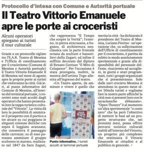 Il Teatro Vittorio Emanuele apre le porte ai croceristi